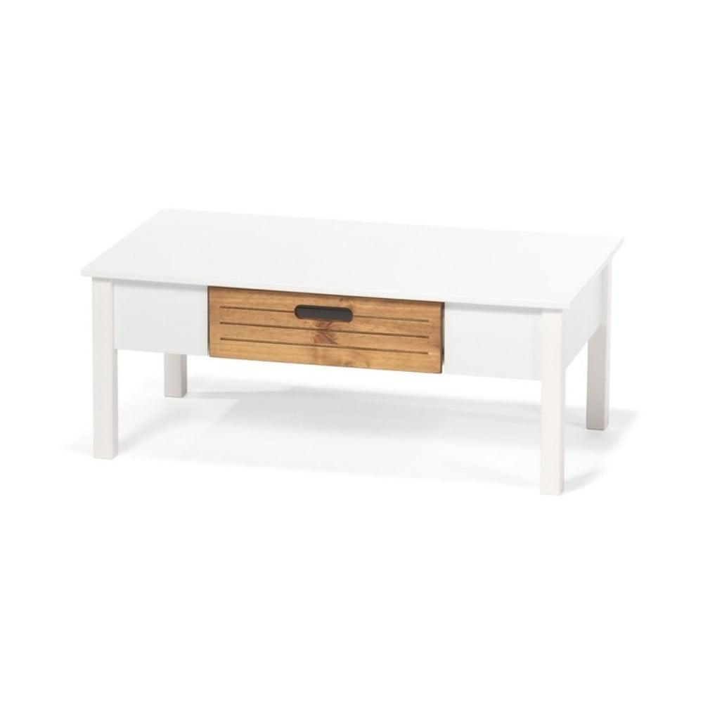 recenze Bílý konferenční stolek z borovicového dřeva se šuplíkem loomi.design Ibiza